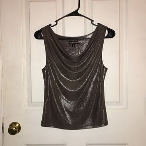 Hot deep grey metallic Bebe top size XS NWOT